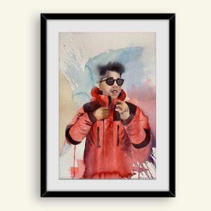 Køb akvarel maleri af hipster fyr
