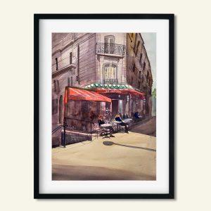 Akvarel Le Refuge Paris Café maleri af Kamilla Ruus