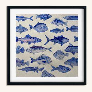 Akvarel maleri med 21 blå fisk af Kamilla Ruus