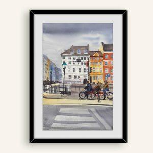 Akvarel maleri af cyklister i Nyhavn malet af Kamilla Ruus