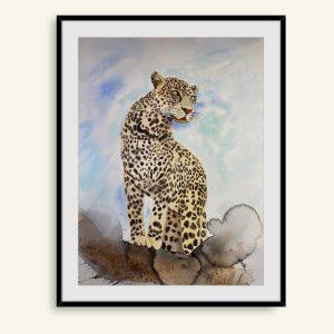 Akvarel maleri af leopard af Kamilla Ruus