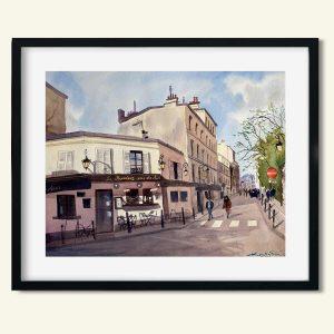 Akvarel Paris Restaurant Rendez-Vous des Amis af Kamilla Ruus