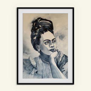 Akvarel portræt maleri af Frida Kahlo malet af Kamila Ruus