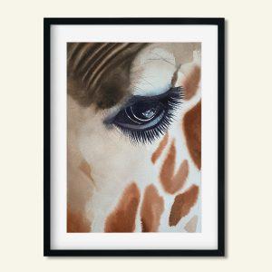 Maleri giraf øje af Kamilla Ruus
