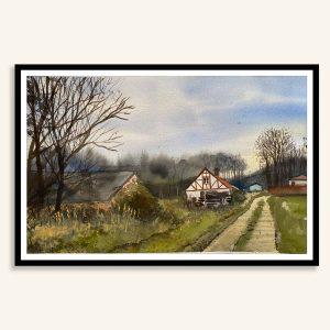 Akvarel Kignæs maleri af Kamilla Ruus