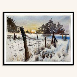 Et Kamilla Ruus landskabsmaleri i akvarel af solnedgang over Skævinge