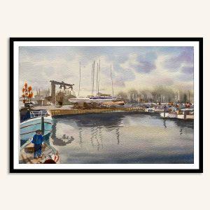 Akvarel maleri Lynæs havn af Kamilla Ruus