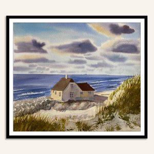 Akvarel maleri af Skagen fiskerhytte malet af Kamilla Ruus
