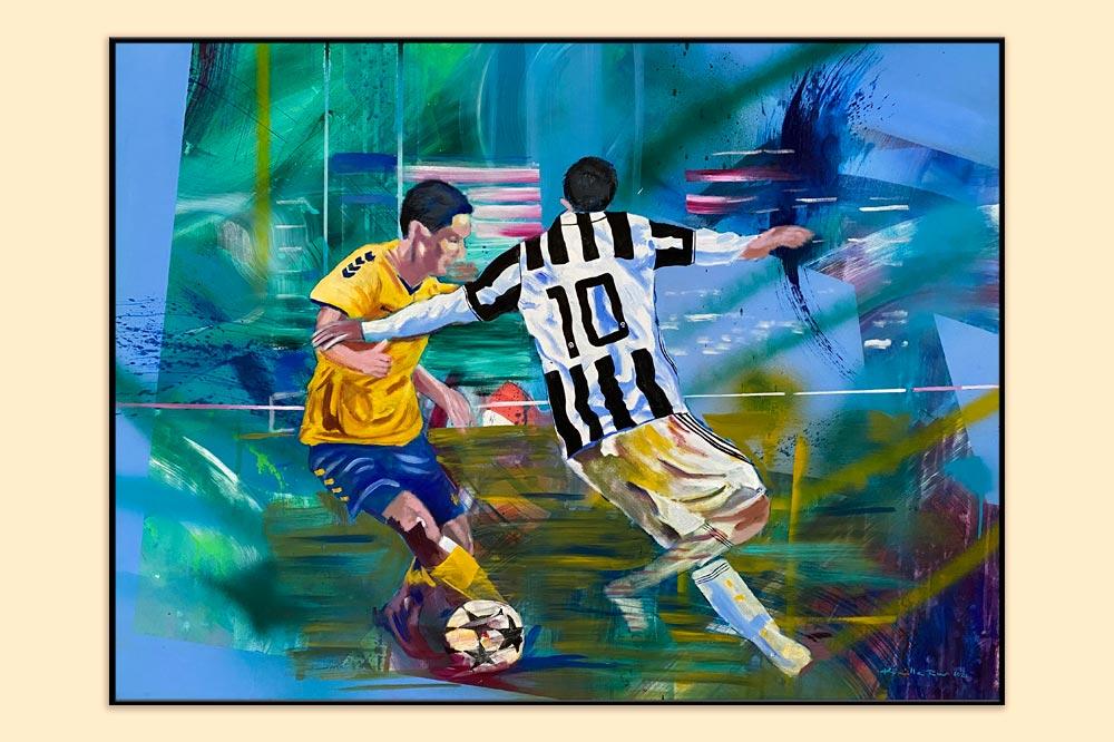 Fodboldmaleri i gave til kæreste malet af Kamilla Ruus