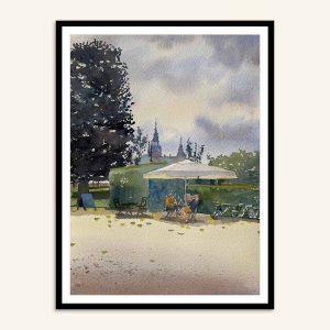 Akvarel maleri Kongens have af Kamilla Ruus