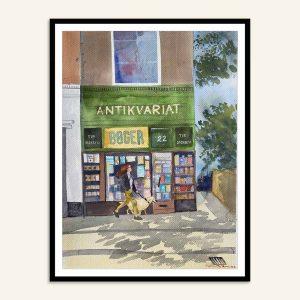 Andersens Antikvarit maleri malet af Kamilla Ruus