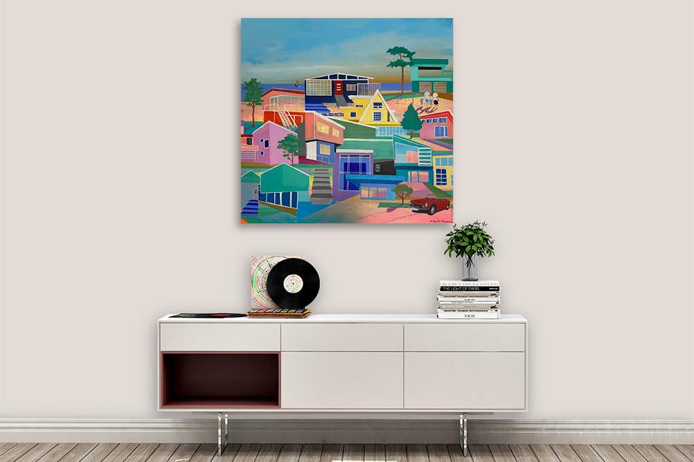 Maleri med huse over skænk malet af Kamilla Ruus