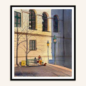 Gråbrødre torv maleri af Kamilla Ruus