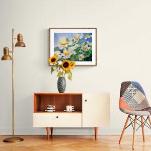 Maleri med hvide valmuer over skænk