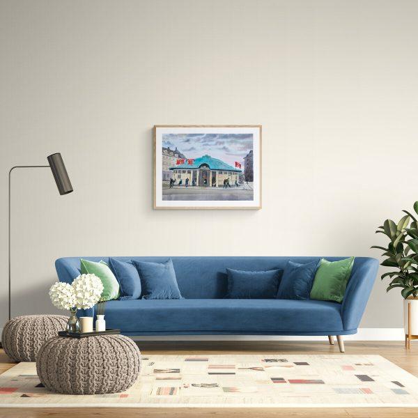 Trianglen maleri over sofa af Kamilla Ruus