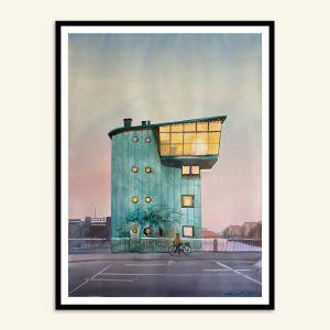 Maleri af Langebro brotårn malet af Kamilla Ruus