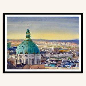 Maleri af Marmorkirken i København lavet af Kamilla Ruus