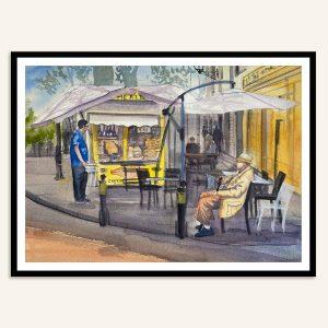 Maleri af gadehjørne i Rom af Kamilla Ruus