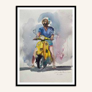 Maleri med mand på scooter af Kamilla Ruus