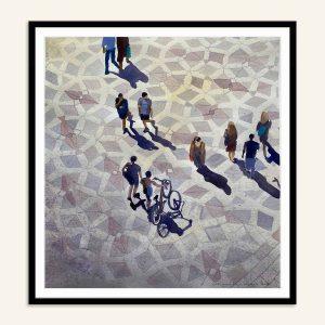 Indrammet maleri af Amagertorv med mennesker