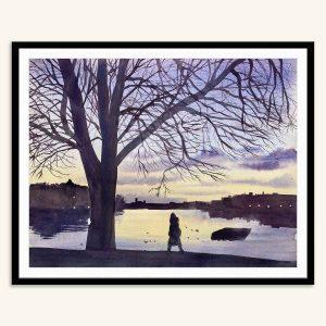 Maleri af solnedgang over søerne i København