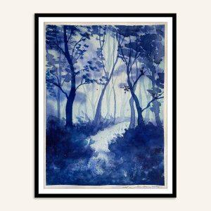 Blåt malerier af skov af Kamilla Ruus