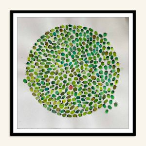 Kamilla Ruus, Maleri med grønne biller, Akvarel, 57x57 cm