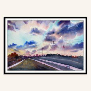 Maleri af solnedgang over motorvej malet af Kamilla Ruus