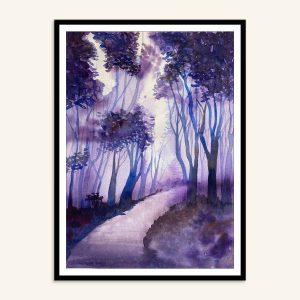 Maleri af skovsti, Kamilla Ruus, 26x36 cm, akvarel